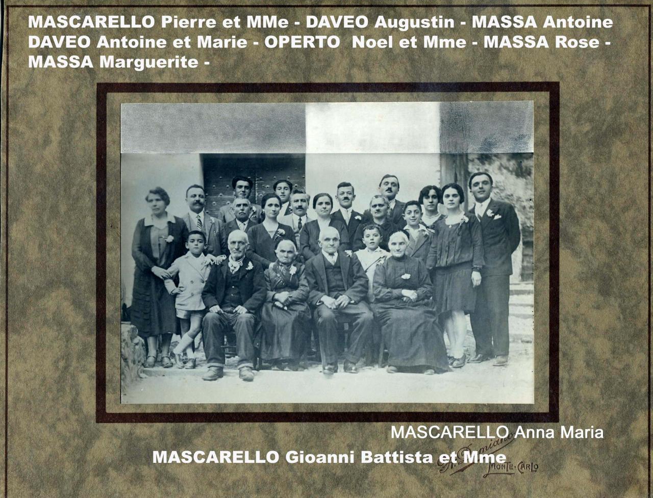 Familles DAVEO - MASCARELLO - MASSA - OPERTO